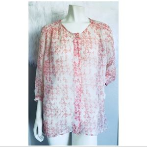 CAbi #756 Women's Emerson Boho Blouse Sheer SZ M